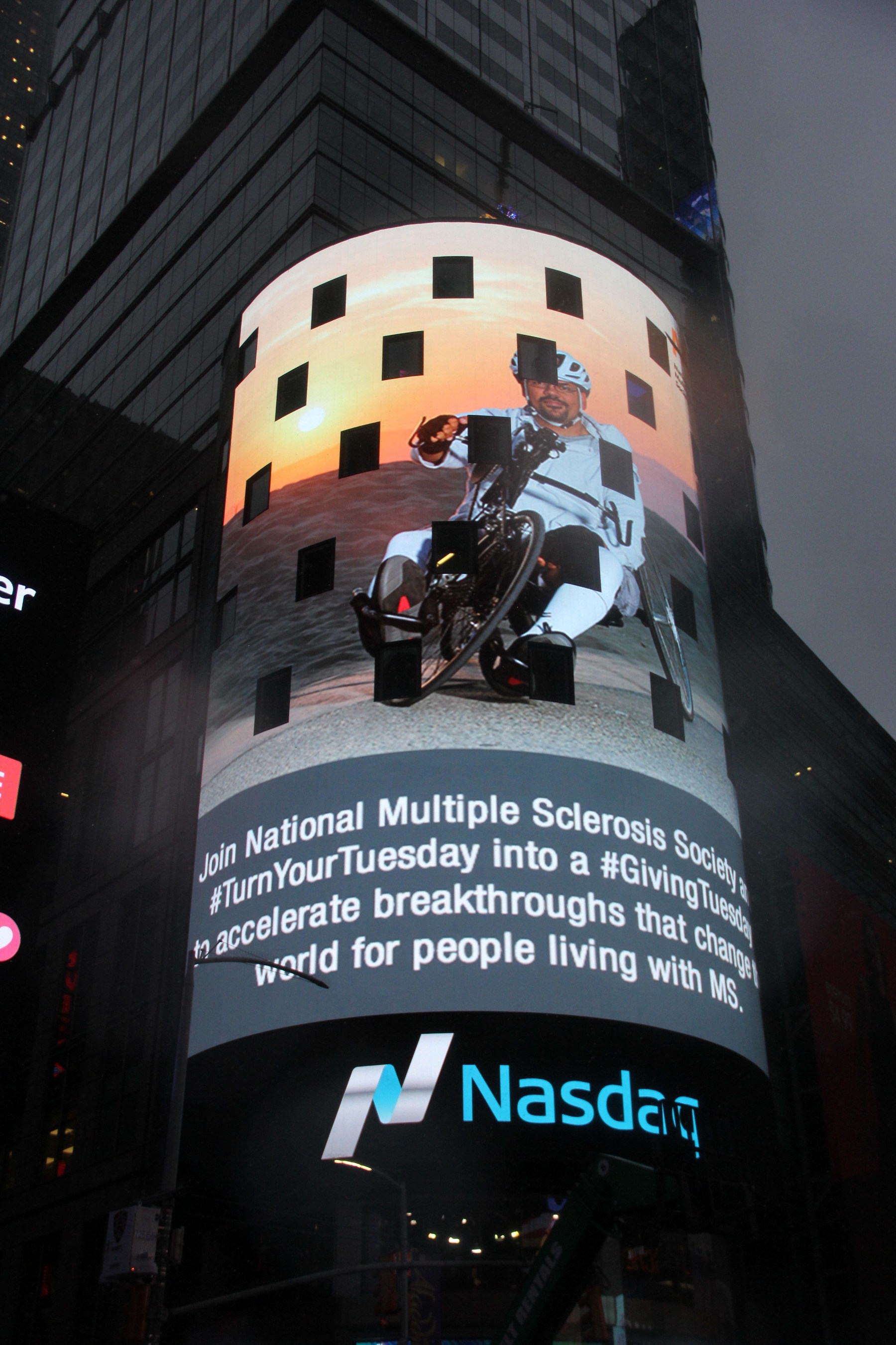 Blackbaud is takes over the Nasdaq tower at Times Square to promote what its customers are doing for #GivingTuesday. Join National Multiple Sclerosis Society this #GivingTuesday to accelerate breakthroughs that change the world for people living with MS.