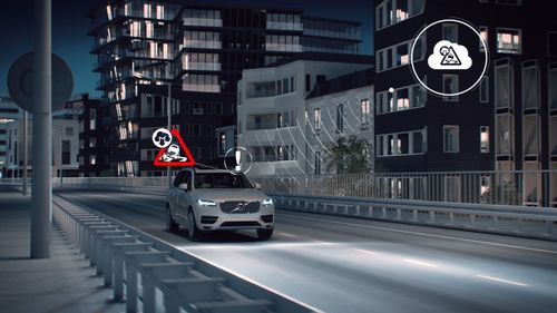 "Volvo Cars is pioneering the safety, convenience and societal benefits of the connected car âeuro"" presenting Slippery Road Alert technology at Mobile World Congress 2015, in Barcelona. (PRNewsFoto/Volvo Car Corporation)"