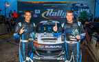 Subaru rally driver David Higgins and codriver Craig Drew continued their Rally America winning streak at Ojibwe Forests Rally. (PRNewsFoto/Subaru of America, Inc.)