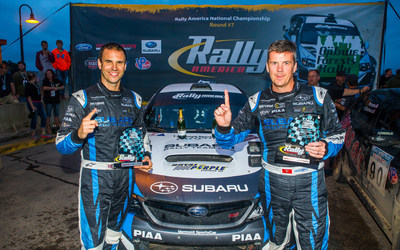 Subaru rally driver David Higgins and codriver Craig Drew continued their Rally America winning streak at Ojibwe Forests Rally.