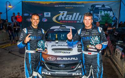 Subaru rally driver David Higgins and codriver Craig Drew continued their Rally America winning streak at Ojibwe Forests Rally. (PRNewsFoto/Subaru of America, Inc.) (PRNewsFoto/Subaru of America, Inc.)
