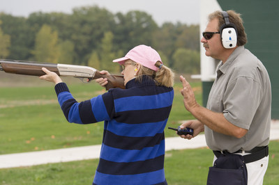 Hillsdale College Range Master Bart Spieth instructs participants at the Ladies for Liberty Shooting Camp and Seminar.