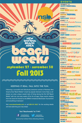 """Following a successful and ridiculously awesome summer, New Smyrna Beach Area Beach Weeks are back by popular demand.  Come and celebrate our area's unique coastal style during our first annual, fall """"Beach Weeks"""".  There will be ten weeks of fun for all ages, including sun, surfing, fishing, kiting, films on the beach, music, books, art and so much more! Visit www.beachweeks.com  or call 800.541.9621 for details and start planning your stay today!  (PRNewsFoto/Southeast Volusia Advertising Authority)"""