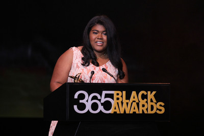 Youth entrepreneur Leanna Archer accepts the McDonald's(R)  365Black(R)  Award during the 10th annual ceremony, held at the New Orleans Theater, on July 6. The McDonald's 365Black Awards are given annually to salute outstanding individuals who are committed to making positive contributions that strengthen the African-American community.  (PRNewsFoto/McDonald's USA, LLC)
