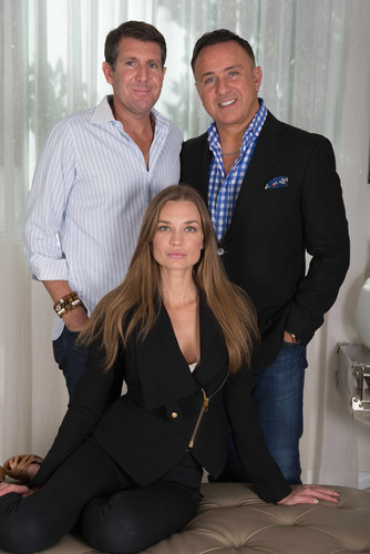 Costa Hollywood condo-resort developer Moses Bensusan (right) celebrates addition of Michael Capponi (left) to development team with private party at Soho Beach House. Victoria's Secret supermodel, Amber Arbucci (center) to co-host. (PRNewsFoto/Costa Hollywood Condo Resort at Hollywood Beach Village) (PRNewsFoto/COSTA HOLLYWOOD CONDO...)