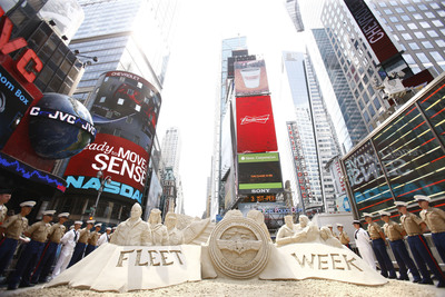 Travel Channel's Sand Masters celebrate Fleet Week in Times Square.  (PRNewsFoto/Travel Channel, Anders Krusberg)