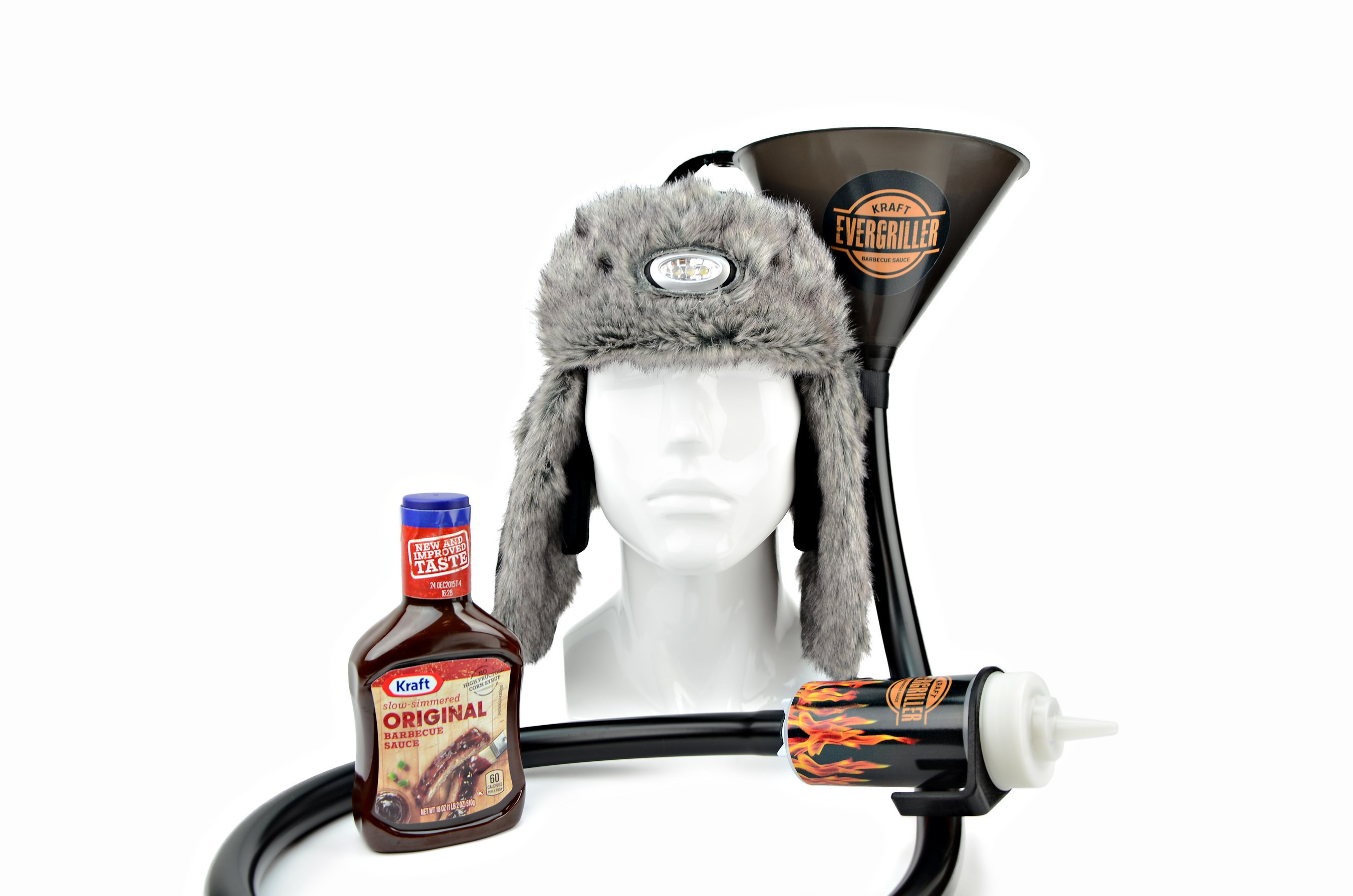 Kraft Barbecue Sauce's Evergriller Hot Head Hat is an all-purpose, weather-proof hat designed to keep grillers warm while acting as a holder for the most important grill necessities.