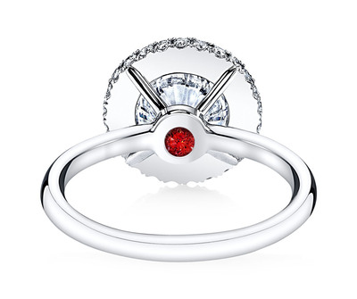 A ruby Signature Stone featured in the EVA II diamond engagement ring design - available exclusively at Jean Dousset Diamonds and JeanDousset.com. (PRNewsFoto/Jean Dousset Diamonds) (PRNewsFoto/JEAN DOUSSET DIAMONDS)