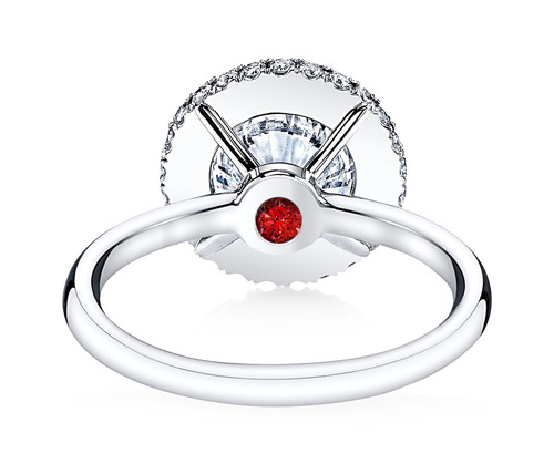 A ruby Signature Stone featured in the EVA II diamond engagement ring design - available exclusively at Jean ...