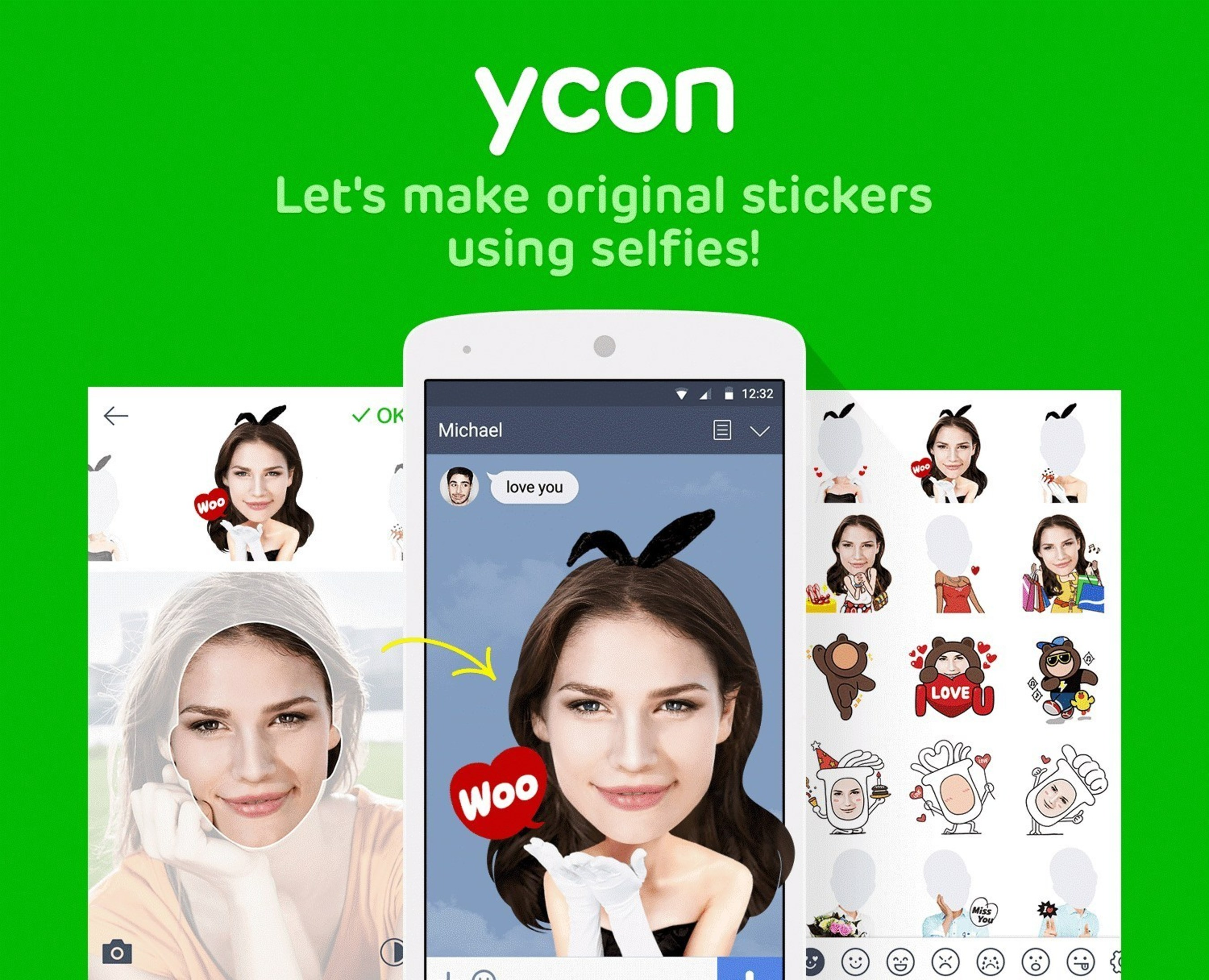 LINE Officially Launches Selfie Sticker Creation App 'ycon'