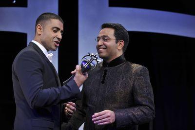 The 2011 Lebara Outstanding Achievement in Music - winner Jay Sean and Ratheesh Yoganathan, CEO, Lebara.