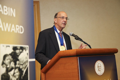 Roger I. Glass, MD, PhD, receives the 2015 Albert B. Sabin Gold Medal Award for his many contributions to improving children's health worldwide, including novel scientific research for the prevention of gastroenteritis from rotaviruses and noroviruses. Photo: Mignonette Dooley Johnson, on behalf of the Sabin Vaccine Institute