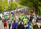More than 40,000 people took to the streets of Greater Boston on Sunday, May 6th for the 44th annual Walk for Hunger. The 20-mile walk is the largest and oldest one-day walk-a-thon for hunger in the country, starting in 1969 with 2,000 Walkers who raised $26,000 for two emergency food programs. During the past 44 years, more than a million participants have raised nearly $85 million to help hungry people in the state of Massachusetts.  (PRNewsFoto/Project Bread, David Leifer)