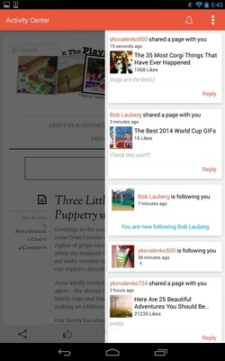 View shares and follower notifications in the new StumbleUpon for Android app Activity Center.  www.stumbleupon.com (PRNewsFoto/StumbleUpon)