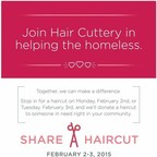 For every haircut purchased on on Monday and Tuesday, Feb. 2-3, a free haircut certificate will be donated back to a homeless person local to one of Hair Cuttery's 900 salons.