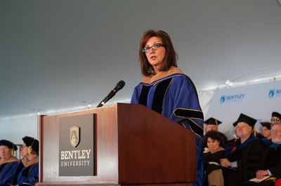 At the 39th annual commencement ceremony, Linda Zecher, president, chief executive officer and director at Houghton Mifflin Harcourt, delivered the keynote address to graduate students at the Bentley University Graduate School of Business ceremony.   (PRNewsFoto/Bentley University)