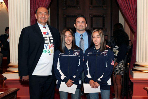 Senator Lou Correa, Olympic silver medalist & 3x NCAA Champion Stephen Abas, CA high school champion wrestlers Marina and Regina Doi.   (PRNewsFoto/Committee to Preserve Olympic Wrestling)
