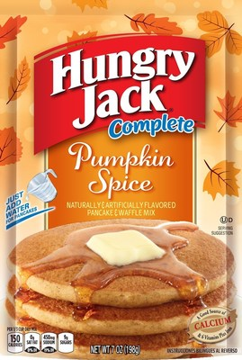 Spice up autumn with Hungry Jack(R) Complete Pumpkin Spice Flavored Pancake & Waffle Mix now available in a convenient 7-ounce Easy Pack - the perfect size for a family of four. (PRNewsFoto/The J. M. Smucker Company)
