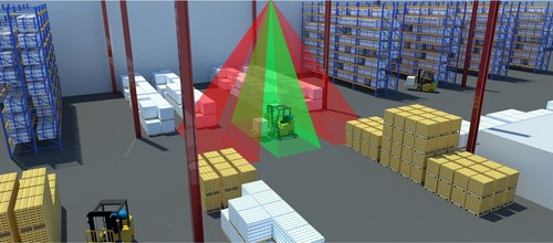 An AngleID sensor can determine which direction a forklift or AGV is travelling (PRNewsFoto/Ubisense Group Plc)