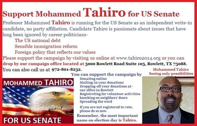 Support Mohammed Tahiro for US Senate. (PRNewsFoto/Mohammed Tahiro for US Senate) (PRNewsFoto/Mohammed Tahiro for US Senate)