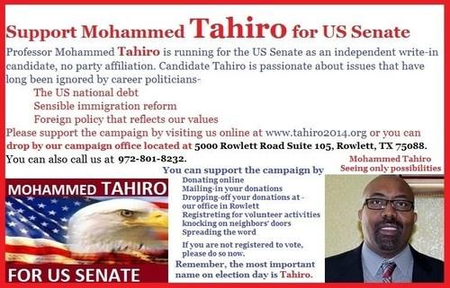 Support Mohammed Tahiro for US Senate. (PRNewsFoto/Mohammed Tahiro for US Senate)