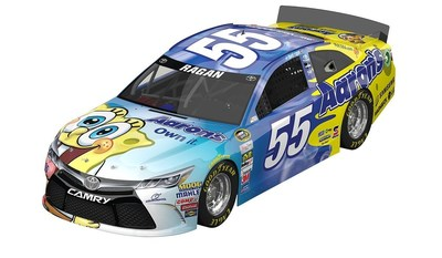 The Aaron's No. 55 Dream Machine will sport a new look for the May 9 NASCAR Sprint Series race in Kansas City. The car will transform into the No. 55 SpongeBob SquarePants Aaron's Toyota Camry.
