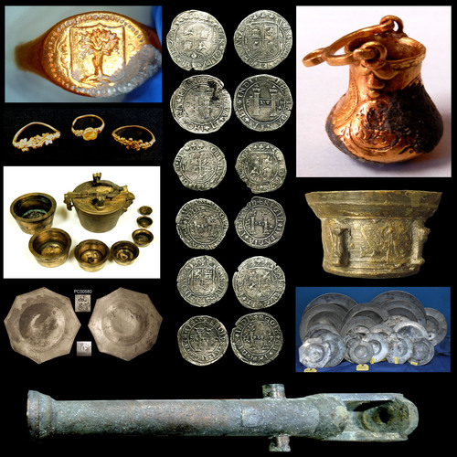 16th century artifacts recovered from shipwreck include rare, valuable pewter among coins and cannons. Global Marine Exploration Inc.  (PRNewsFoto/Global Marine Exploration, Inc.)