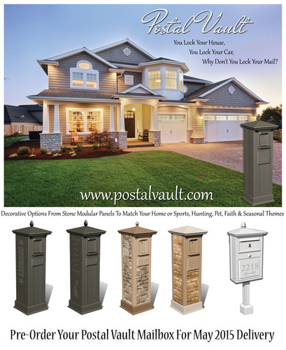"""PV secure locking mailboxes, the ultimate design in residential mail security that will 'brand' the 'unbranded' category of mailboxes! These new designs will feature extruded corners and parts made from """"recyclable"""" materials and a high theft resistant patented locking mechanism making it extremely difficult for any identity/mail thief to break into the unit. These mailboxes will also feature a patented prevention tray that will not allow any instrument or hand to be able to reach the mail once the top front door is opened and the mail is inserted by the Postal Carrier. (PRNewsFoto/Postal Vault Corporation)"""