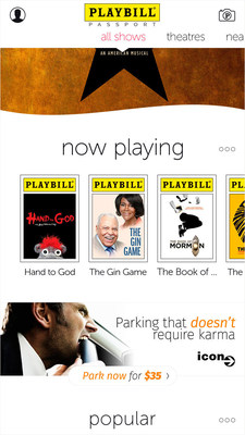 Playbill app now directs users to discounted parking at Icon Parking facilities in theatre district.