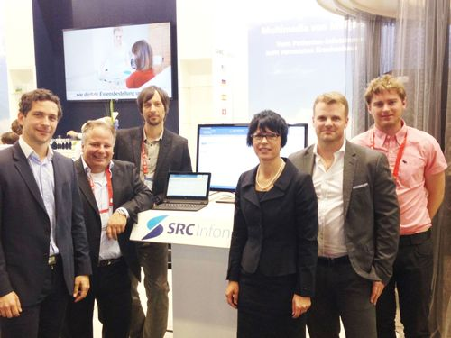 Visit of Slovenian Ambassador Marta Kos Marko to the ClinicAll booth at conhIT in Berlin to gain information ...