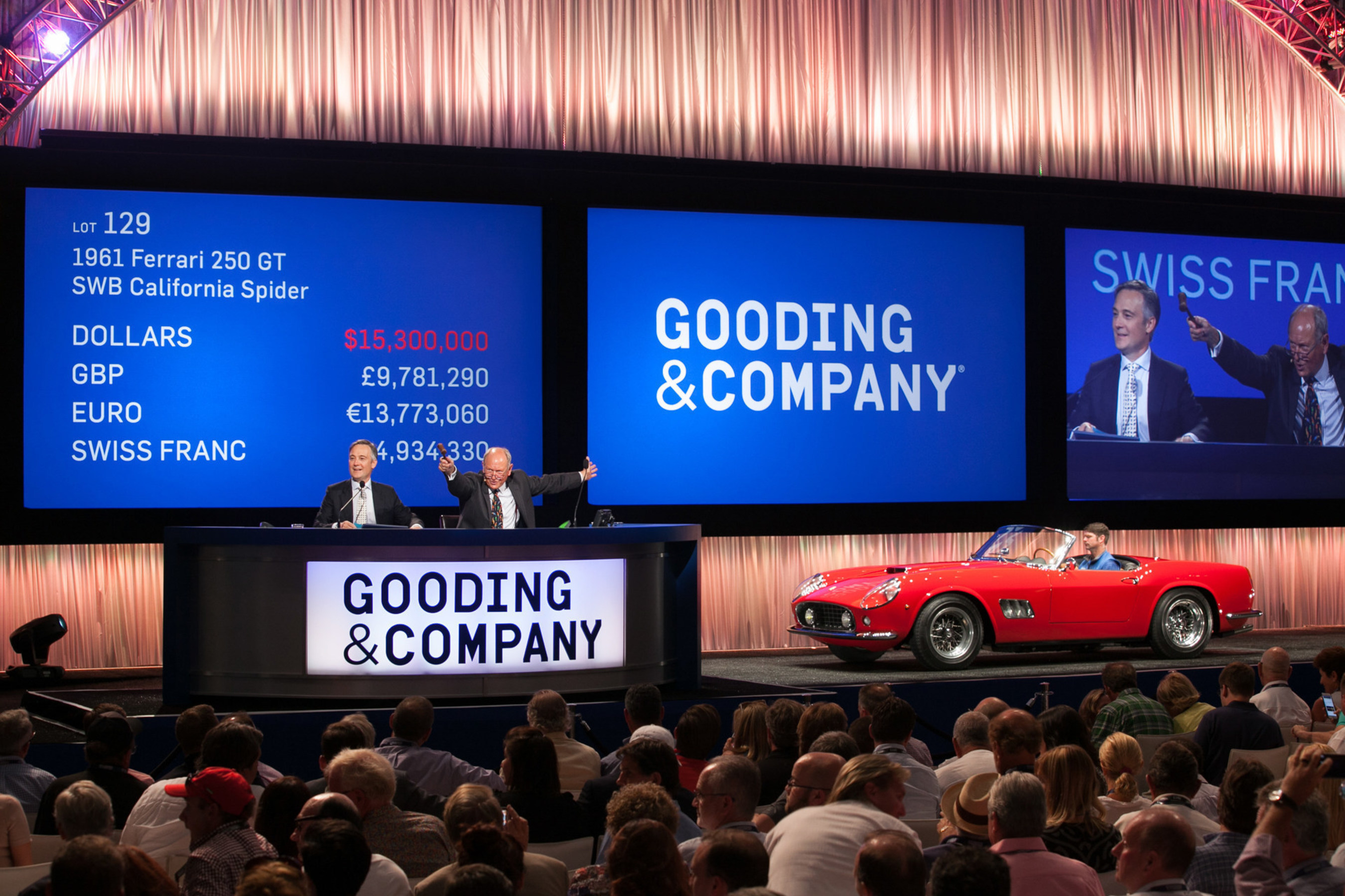 (From L-R) David Gooding and Charlie Ross with 1961 Ferrari 250 GT SWB California Spider (sold for $16,830,000).  All images copyright and courtesy of Gooding & Company. Photos by Jensen Sutta.