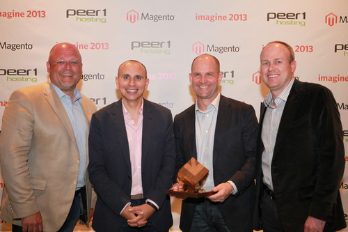Co-founders, Rich Lyons and Dave Barr, accept Magento's 2012 Partner Excellence award.  (PRNewsFoto/Lyons Consulting Group)
