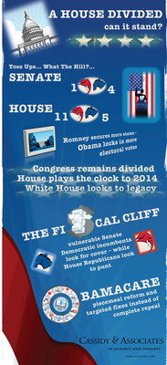 A House Divided, Will it Stand? InfoGraphic - A new InfoGraphic released online today by Cassidy & Associates providing an illustrated forecast of the potential consequences of the upcoming Presidential Election.  (PRNewsFoto/Cassidy & Associates)