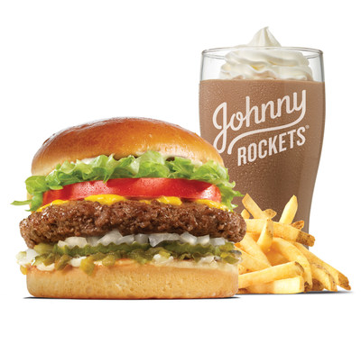 The original, fresh, never frozen, 100% beef burger, hand-spun chocolate shake and fries, on the menu at the new Johnny Rockets at Tucson Premium Outlets, Tucson, AZ.