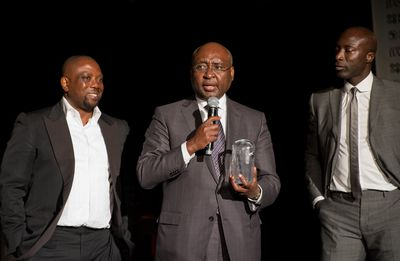 Made in Africa Foundation co-founders Kola Aluko (L) and Ozwald Boateng OBE (R) with President of African Development Bank Donald Kaberuka (C)