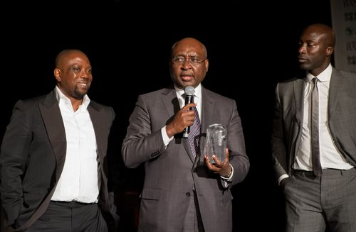 Made in Africa Foundation co-founders Kola Aluko (L) and Ozwald Boateng OBE (R) with President of African ...