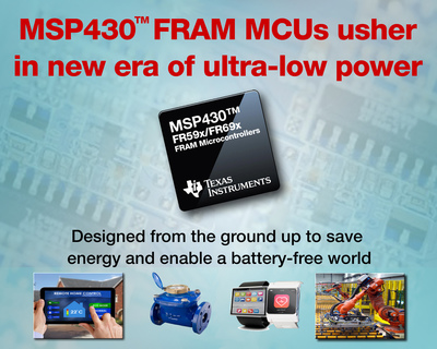 TI's MSP430 MCUs with EnergyTrace++™ technology designed from the ground up to enable the world's lowest power microcontroller systems.