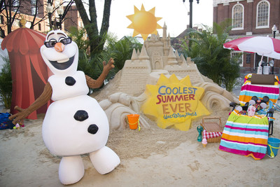 "Sand Castle in the Snow Announces 24-Hour Event to Kick Off 'Coolest Summer Ever' at Walt Disney World Resort-(March 11, 2015) Inspired by the summer-loving snowman Olaf, Disney brought to life a warm summer scene complete with a Cinderella Castle made of sand in the middle of winter-weary Boston, Mass. on March 11, 2015 to announce the ""Coolest Summer Ever"" at Walt Disney World Resort. Surprised onlookers near historic Faneuil Hall were greeted by Olaf, from Disney's hit animated film ""Frozen,"" and joined by playful beach-goers in summer attire with beach chairs and beach balls - all reminders of an"