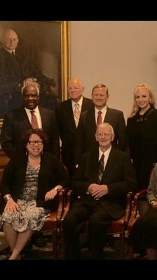 Front row: Justice Sonia Sotomayor and 2015 Devitt Award winner, Judge Edward Leavy. Back row: Justice Clarence Thomas, Justice Anthony M. Kennedy, Chief Justice John G. Roberts, Jr., and Julie Chrystyn Opperman.