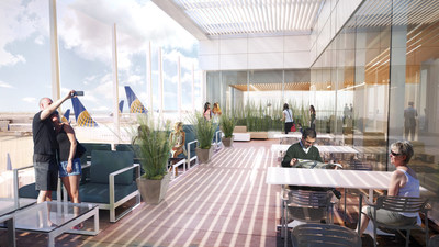 A rendering of the new United Club terrace at LAX. United is investing $573 million to refresh nearly all of its customer-facing space at LAX.