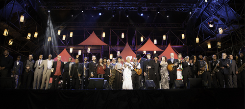 Celebrating International Jazz Day 2014 in Osaka, Japan are (left to right) James Genus, Roy Hargrove, Mike Cottone, Kris Bowers, T.S. Monk, John Beasley, Herbie Hancock, Wayne Shorter, Kenny Garrett, Theo Croker, Lalah Hathaway, Marcus Miller, Dionne Warwick, Dee Dee Bridgewater, Esperanza Spalding,  Oumou Sangare, Jonathan Butler, Gregory Porter, Eric Miller, Chris Thomas King, Roberta Gambarini, John Scofield, Shuichi Hidano, Pete Escovedo, Sheila E., Josh Johnson, Jonathan Pinson, Troy Roberts, Lew Tabackin, Claudio RodIti and Courtney Pine. (PRNewsFoto/Thelonious Monk Institute of...)