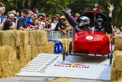 Team Miss Guided Clears a Jump at Red Bull Soapbox Race Ohio