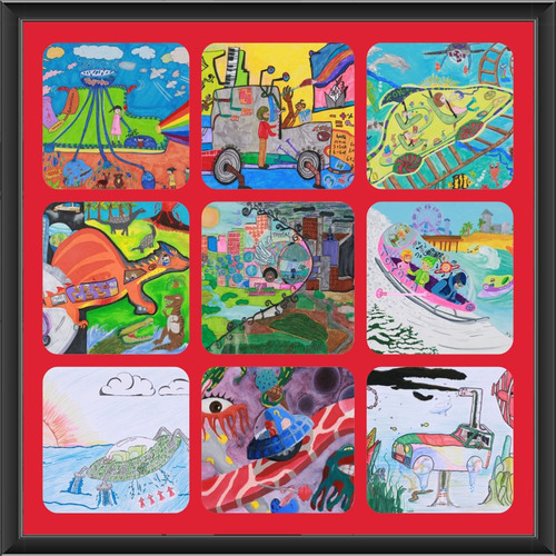 Artwork from the nine U.S. winners of the 2013 Toyota Dream Car Art Contest. The winners will compete in Japan ...