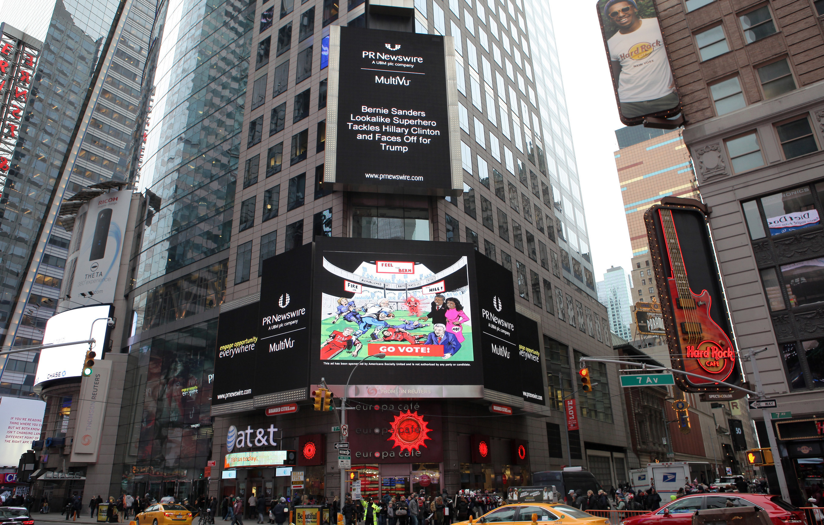Bernie Sanders First and Goal for Primary: NY Times Square Billboard Comic Ad Sequel on Super Bowl