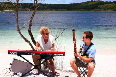 (L to R) Australian pianist and guitarist Stu Cullen (from Melbourne, Victoria) and American bassoonist Sam Blair Making Tracks on the Sunshine Coast, Queensland.
