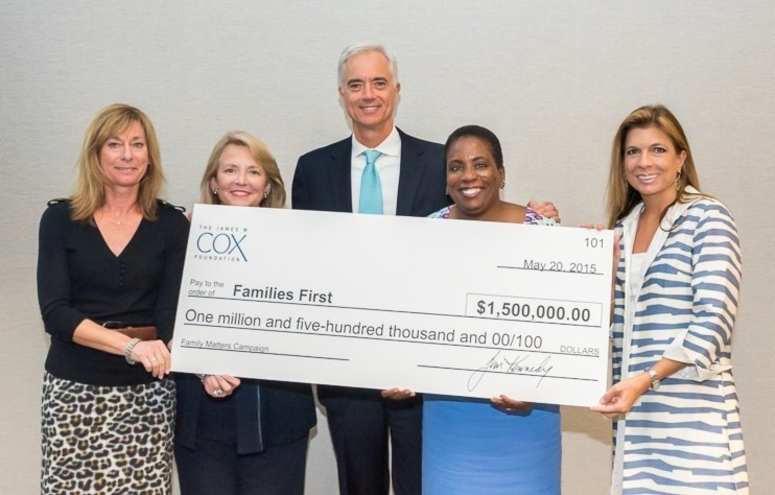 L to R: Marybeth Leamer (Cox Enterprises EVP and Families First Board Member), Nancy Rigby (Cox Foundations VP), Jim Mills (Families First Board Chair), Kim Anderson (Families First CEO), Julie Salisbury (Families First Chair-Elect)