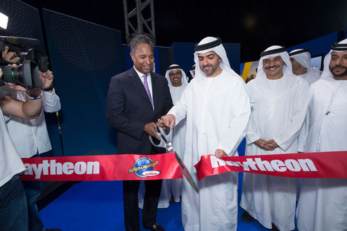 H. H. Sheikh Hamed bin Zayed, Chairman of the Crown Prince Court, and John Harris, CEO of Raytheon International, Inc., launch MathAlive! in Abu Dhabi as Raytheon expands its global math and science initiatives. Photo: Alex MacNaughton. For more information on the event, access: http://raytheon.mediaroom.com/index.php?s=43&item=2460.  (PRNewsFoto/Raytheon Company)