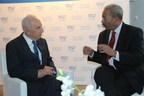 Congressman Chaka Fattah meets with former Israeli President Shimon Peres in Tel Aviv during BrainTech Israel on October 2013.
