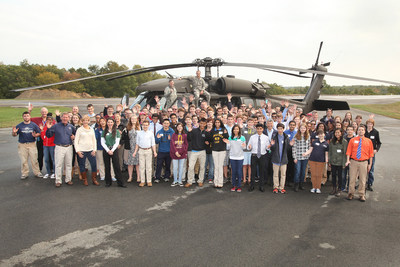 High School Students participating in Sikorsky Aircraft's 2015 Science, Technology, Engineering, and Math (STEM) Challenge were treated to a surprise landing of a BLACK HAWK helicopter during Friday's kickoff event at Chester Airport.