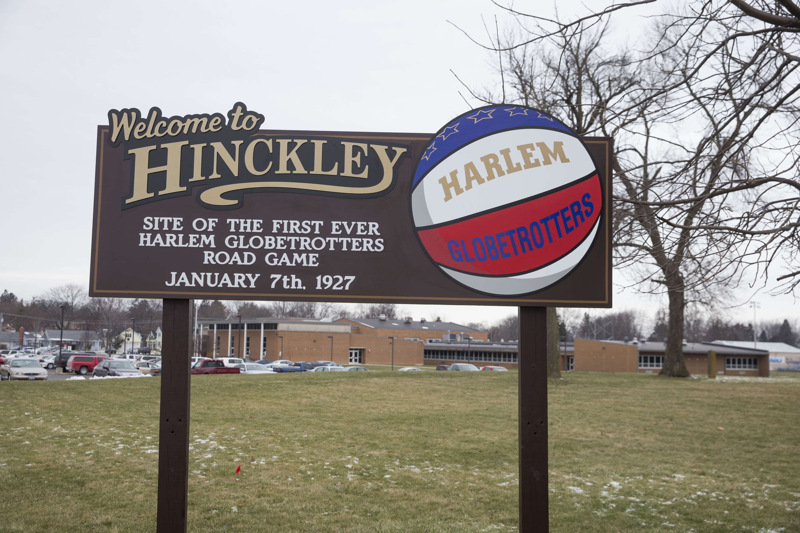 In celebration of their 90th year of entertaining families around the world, the iconic Harlem Globetrotters returned to Hinckley, Illinois, today - the anniversary date of the team's first-ever road game in 1927 - and erected a new sign to denote the historic site during a special ceremony this afternoon.